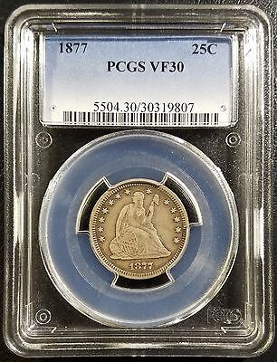 1877 25C Seated Liberty Silver Quarter PCGS VF30 Very Fine Coin