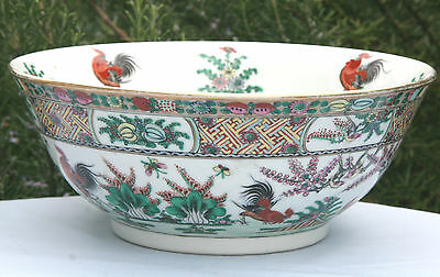 Vintage handpainted chinese bowl cockerels, butterflies and decorative gilding