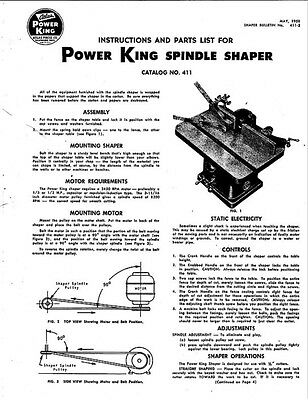 1950 Atlas 411 Power-King  Spindle Shaper-Instructions Parts List  Instructions