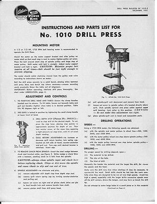 """3070 and 3080 10/"""" Tilt Arbor Table Saw  Instructions 1951 Atlas  No 3060"""