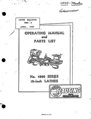 "1957 Atlas 4800-Series 12"" Lathes-Operating Manual and Parts List  Instructions"