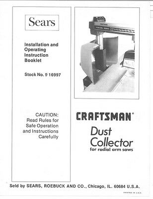 Craftsman 09-16997 Dust Collector for Radial Arm Saws Instructions