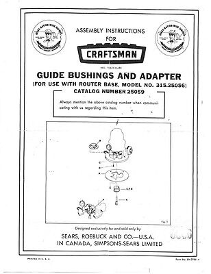 Craftsman Guide Bushings and Adapter (for use with 315.25056) Instructions
