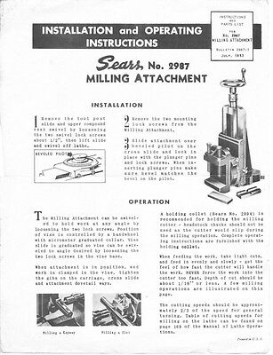 1953 Craftsman 2987 Milling Attachment For Metal Working Lathe Instructions