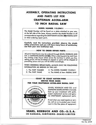 Craftsman 113.29411  Accra-Arm 10 inch Radial Saw Instructions