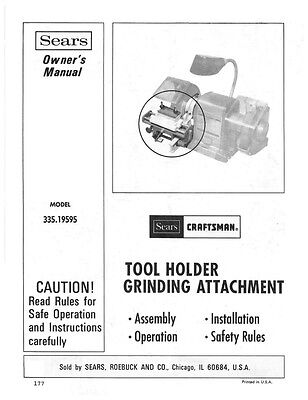 1977 Craftsman 335.19595 Tool Holder Grinding Attachment Instructions