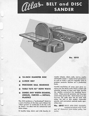 Atlas  No. 5010 Belt and Disc Sander  Instructions