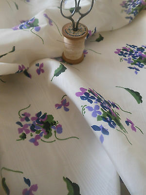 Antique Vintage Satin Moire Purple Violets Fabric ~ 1940's/50's