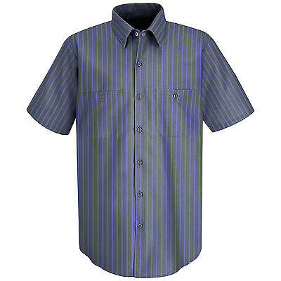 Red Kap Mens Short Sleeve Stripe Work Shirt - Small - Grey / Blue