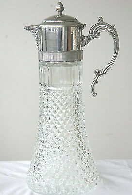 Vintage silver plated cut glass pitcher jug with ice insert