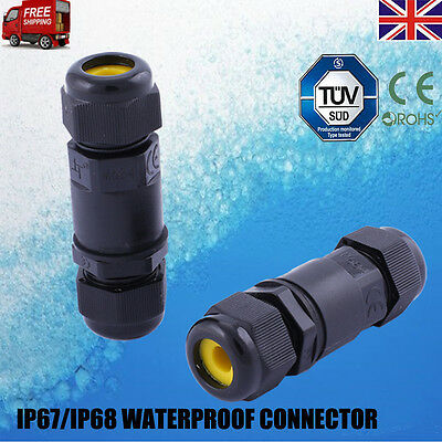 2/3 Pins IP67/IP68 Waterproof Electrical Cable Wire Connector 4M Depth Water UK