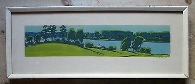 Lovely Vintage Mid Century Woodblock Linocut Print-Indistinctly Signed