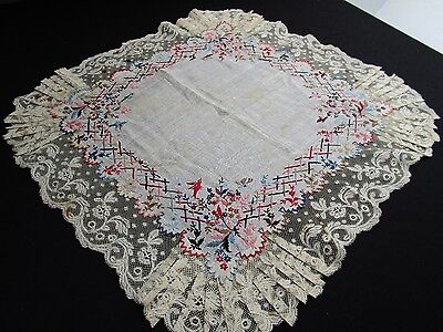 Large Size Antique French Valenciennes Lace Handkerchief, Embroidered Batiste