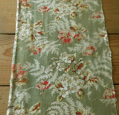 Antique 19thc French Fern & Blossom Floral Cotton Fabric Fragment~sage rose pink