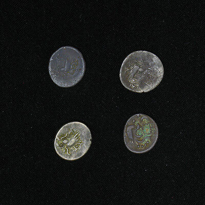 Lot of 4 Cambodia 1847-1860 1/2 Fuang 2 PE VF/VF+