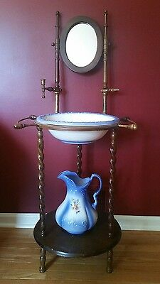 Antique Ironstone 1890 Pitcher and Wash Basin with Vintage Wooden Stand