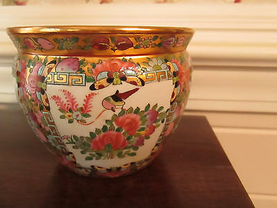 Estate Hand Painted Asian  Floral & Butterfly Ceramic Planter Jardiniere Koi Pot