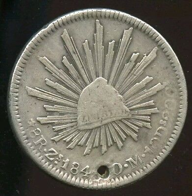 Mexico 184? 8 Reales Zs OM Zacatecas Mint Silver Mexican Coin