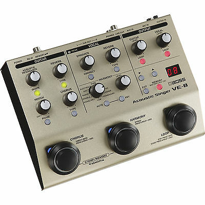 New Boss VE-8 Acoustic Singer Preamp-Vocal Effects-Looper Pedal VE8
