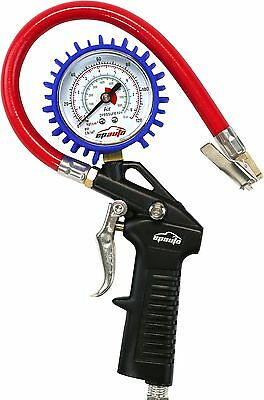 EPAuto Heavy Duty 120 PSI Tire Inflator Gauge with Hose and Quick Connect Cou...