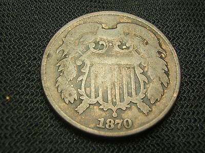 1870 Two Cent Piece Very good  cleaned each additional coin ships  for free