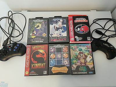 Sega Genesis Game Lot x6 Games x2 Controllers