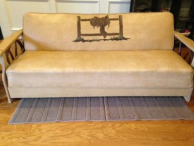 Wagon Wheel Style Vintage Cowboy Furniture Sofa, Chair and 3 Tables Set 1950's