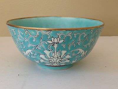 Old Chinese Shou Longevity Bowl Turquoise Unusual Color Qianlong Mark