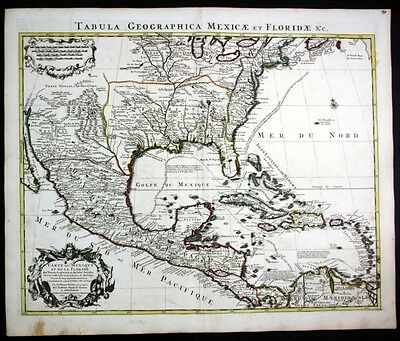 1730 North America Florida Mexico Carribean map Karte Covens Mortier engraving