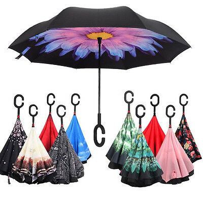 C-Handle Double Layer Umbrella Windproof Folding Inverted Upside Down Reverse #J