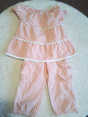 Gymboree Toddler Girls'  Coral and White Checked 2 Pc Pant Set     2T