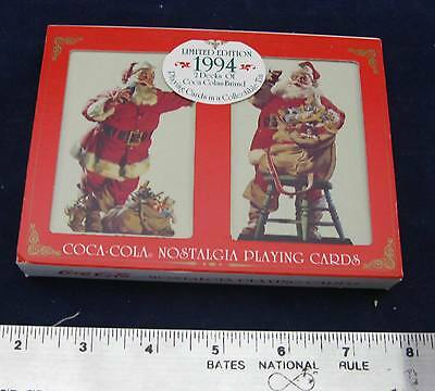 1994 Coca Cola Christmas Playing Two Deck Card Set- in metal set box