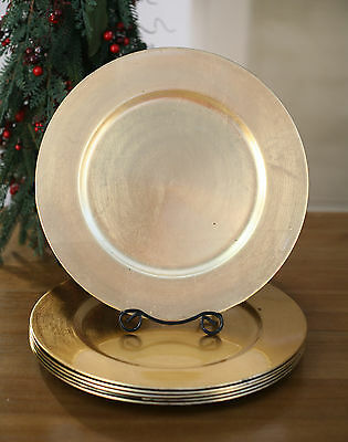 12 x Charger Plate Rustic Gold Festive Homewares Christmas Dinnerware 33cms NEW