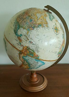 "Vintage Replogle World Classic SERIES 12"" Raised Relief Globe Wooden Base USA"