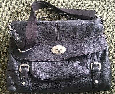 Large~Fossil Black Leather Briefcase Laptop Executive Bag  Book Men's/Ladies