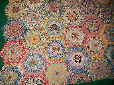 "BEAUTIFUL Vintage 1"" hexagon Flower Garden Antique Quilt ~ bright folk FABRICS!"