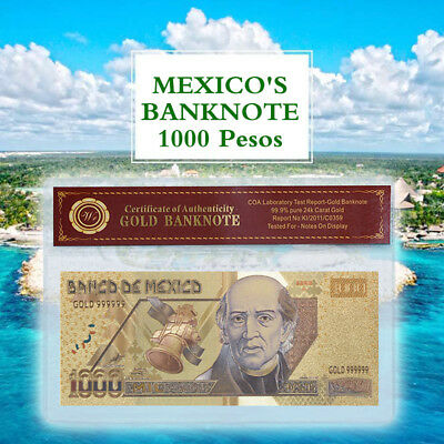 WR Gift Gold Mexico Banknote 1000 Pesos Colored Collector Bill In PVC Sleeve