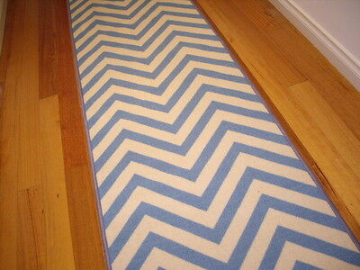 Hallway Runner Blue Chevron Design Hall Runner Rug 3 Metres Long FREE DELIVERY