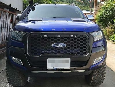 Fit For Ford Ranger 2015-2017  T7 Front Grill Matte Black Full Piece With LED