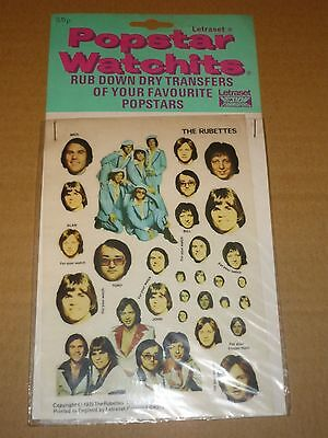 Rubettes 1975 Popstar Watchits - Letraset Action Transfers (Unused)