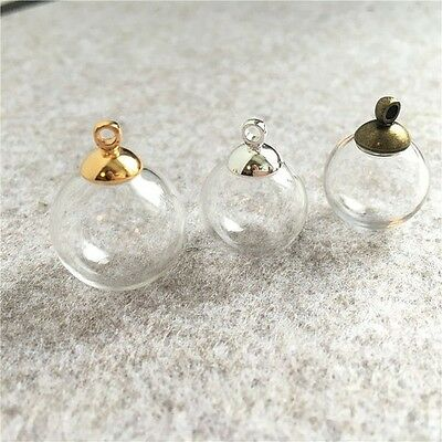 10sets 16mm Empty Glass globe Ball Charms pendants vials Wish Bottles gold caps