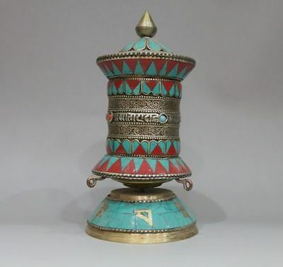 Old Tibet and Nepal, gilt bronze inlaid turquoise rotating the scriptures