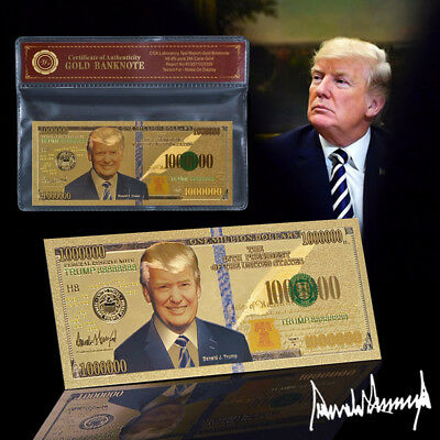 WR Gold Novelty Banknote Donald Trump US 45th President One Million Dollar