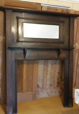 Vintage Oak? Fire Surround -1930s Antique Art Deco Fire Place Mantle Mantlepiece