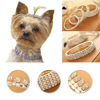 Cute Pet Cat Dog Bone Rhinestone Necklace Pearls Pet Puppy Collar Jewelry