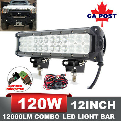 12inch 120W Cree Led Work Light Bar Flood Spot SUV Offroad Driving 4WD Fog Jeep