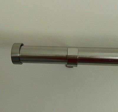 Curtain Rod and End Cap Set without Rings Silver Extend from 120cm-210cm