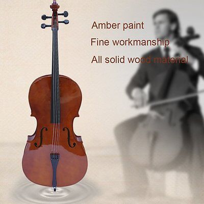4/4 Professional Full Size Natural Solid Wood Cello Student Beginner High Gloss
