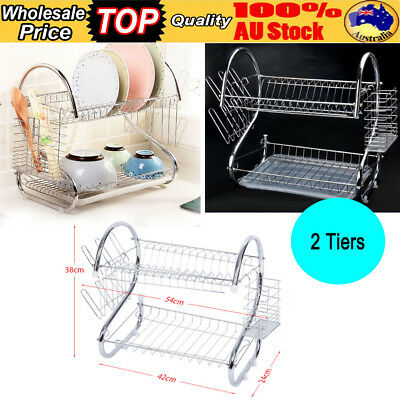 2 Tiers Dish Drying Rack Stainless Steel Frame Plate Cutlery Drainer Drain Tray