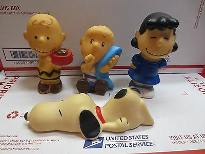 lot of 4 Old 1966 PEANUTS Squeaky Toys CHARLIE BROWN LINUS LUCY SNOOPY 5 1/2""